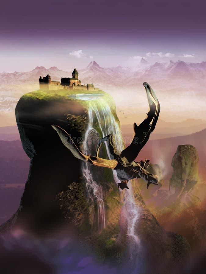 μαγικός κάθετος κόσμος φαντασίας βιβλίων ανασκόπησης grunge διανυσματική απεικόνιση