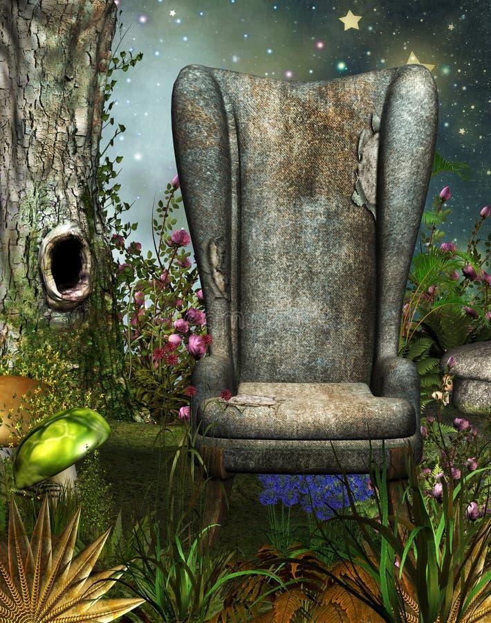 Μαγικός κήπος με την καρέκλα διανυσματική απεικόνιση