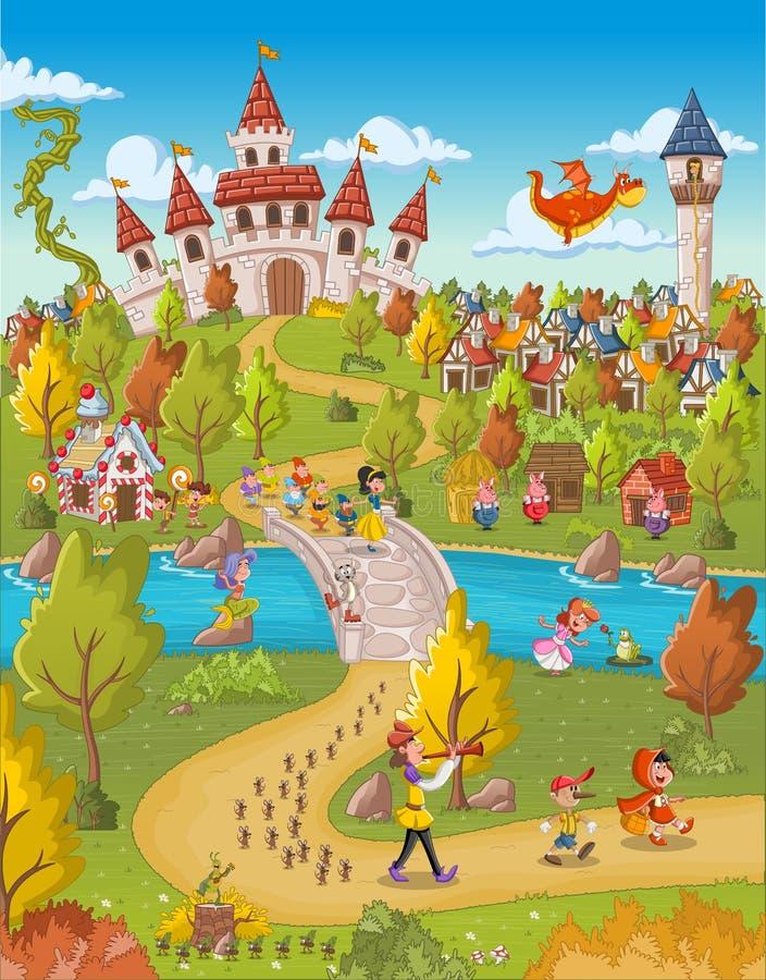 Μαγικός κόσμος με τους χαρακτήρες παραμυθιού ελεύθερη απεικόνιση δικαιώματος