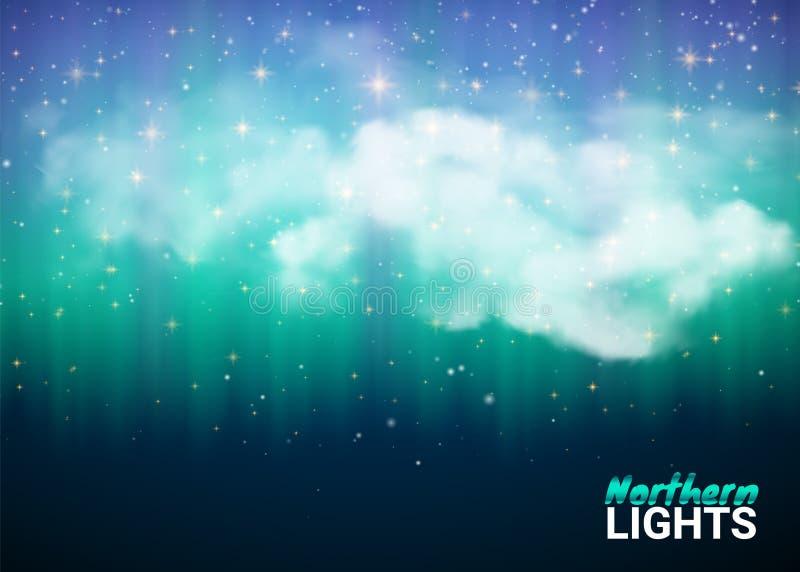 Μαγικός μυθικός νυχτερινός ουρανός με τα σύννεφα και το ρεαλιστικό χρωματισμένο Βορρά απεικόνιση αποθεμάτων