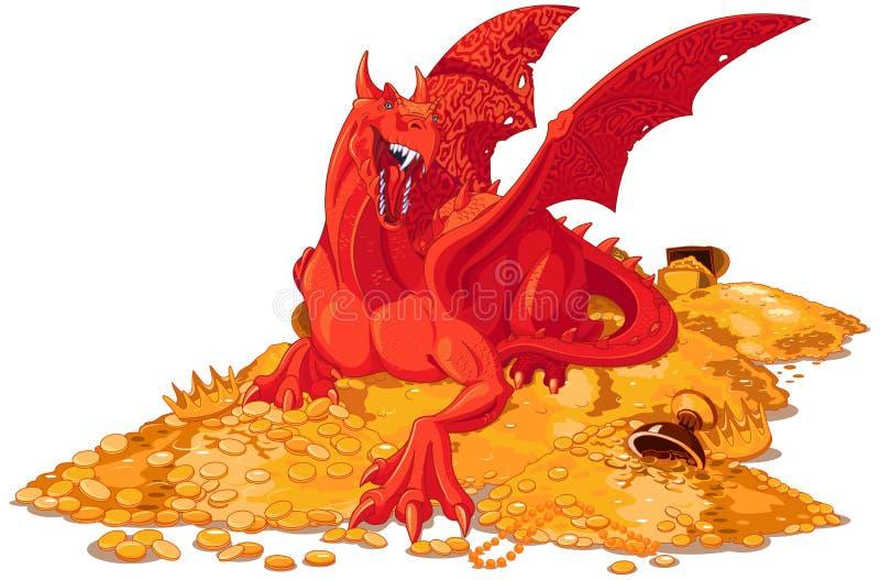 Μαγικός δράκος στο σωρό του χρυσού απεικόνιση αποθεμάτων