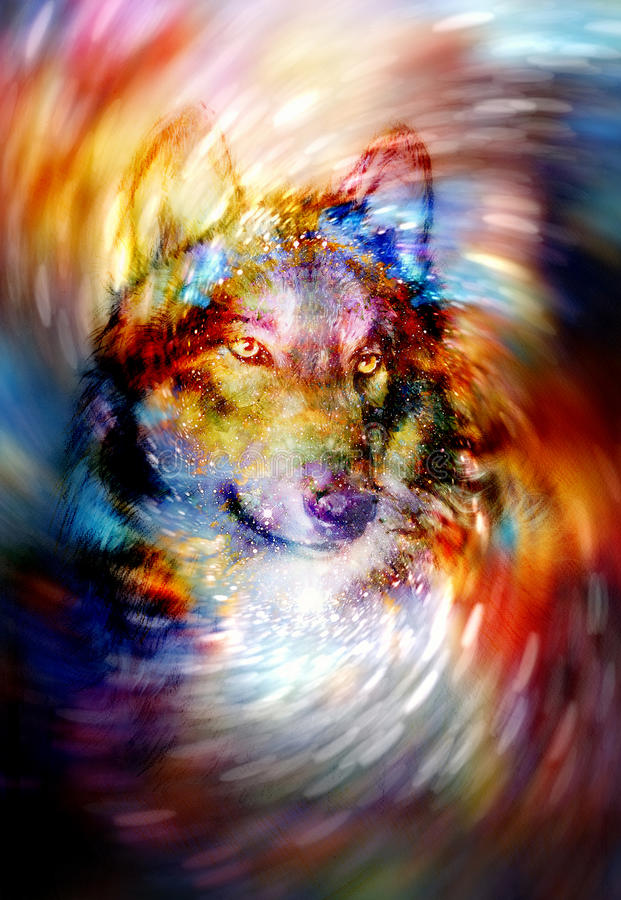 Μαγικός λύκος στο διαστημικό ελαφρύ στρόβιλο, γραφικό κολάζ υπολογιστών απεικόνιση αποθεμάτων