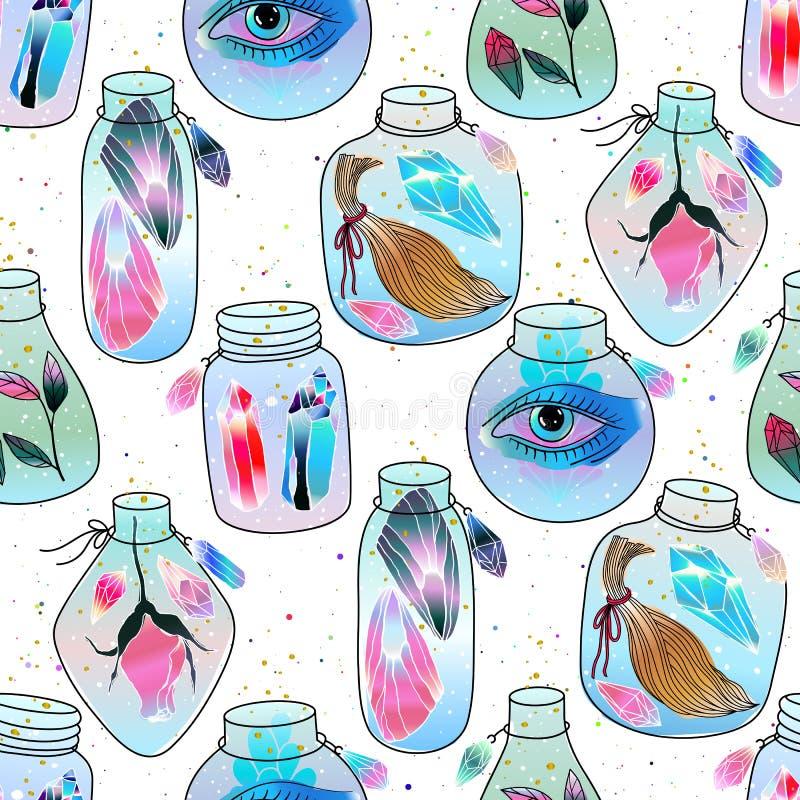 Μαγικό άνευ ραφής σχέδιο βάζων διανυσματική απεικόνιση