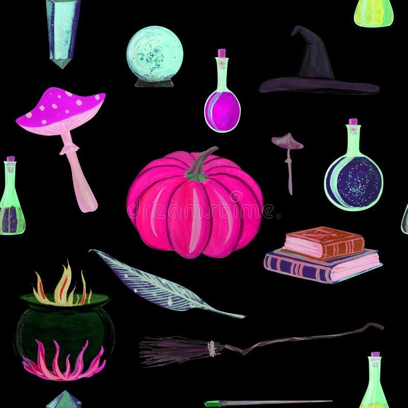 μαγικό άνευ ραφής σχέδιο γκουας με τη μαγική ράβδο, ελιξίριο, βιβλία ελεύθερη απεικόνιση δικαιώματος