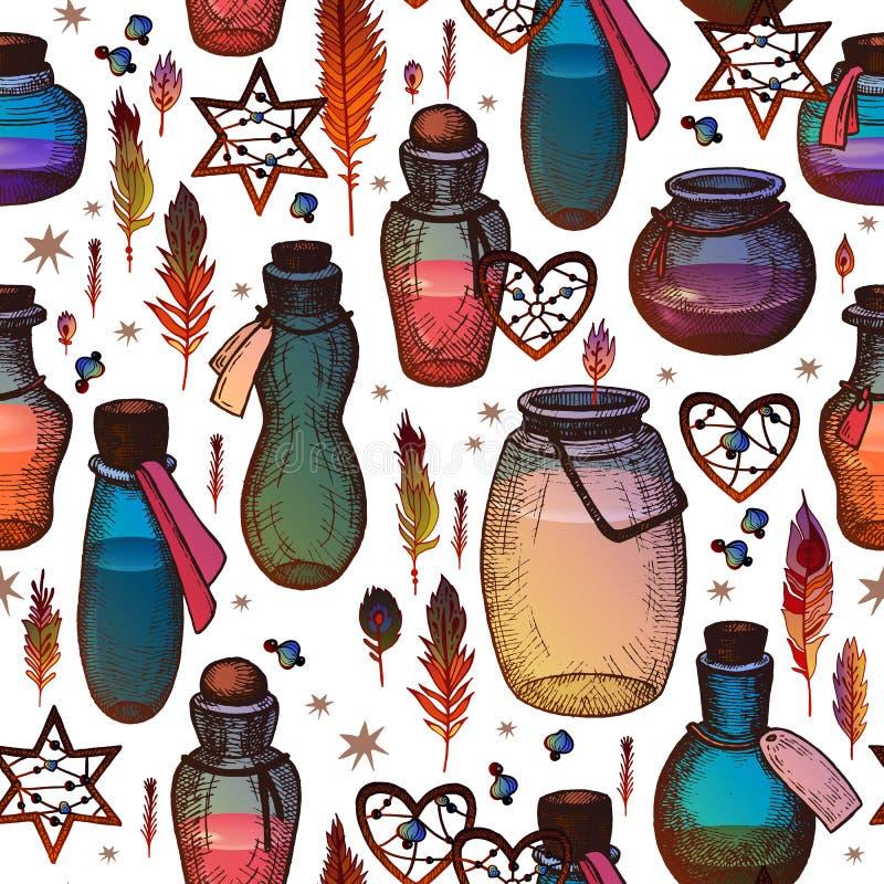 Μαγικό άνευ ραφής σχέδιο με τις φιάλες γυαλιού ελεύθερη απεικόνιση δικαιώματος