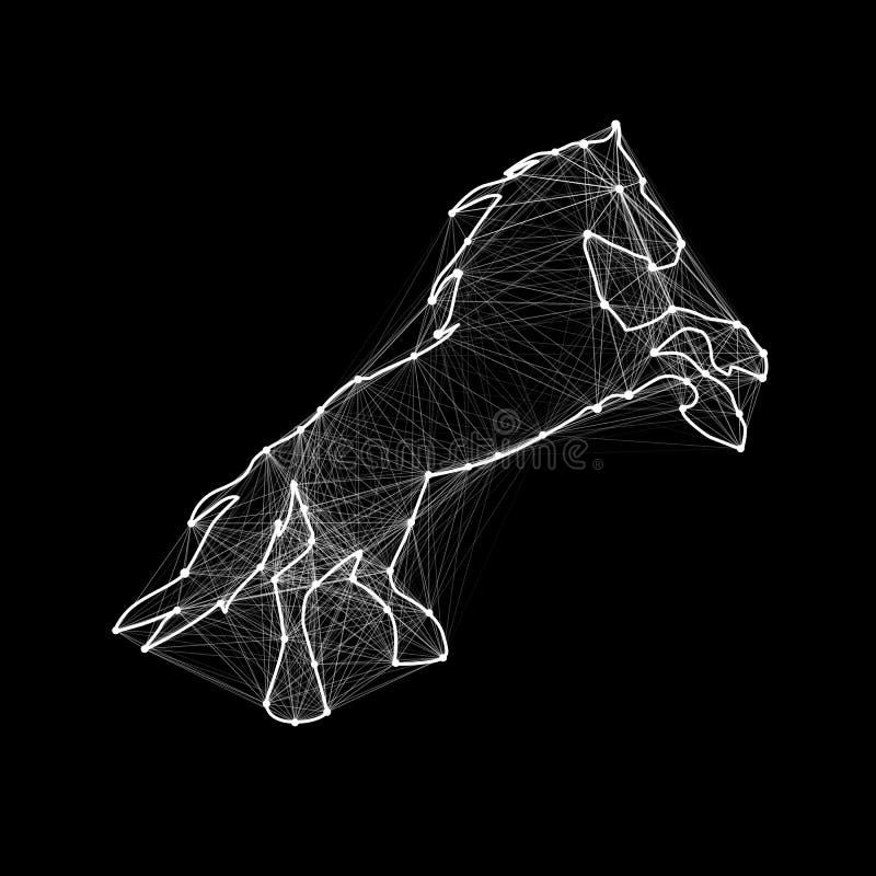 Μαγικό λαμπρό χρυσό άλογο Συνδεδεμένα σημεία διανυσματική απεικόνιση