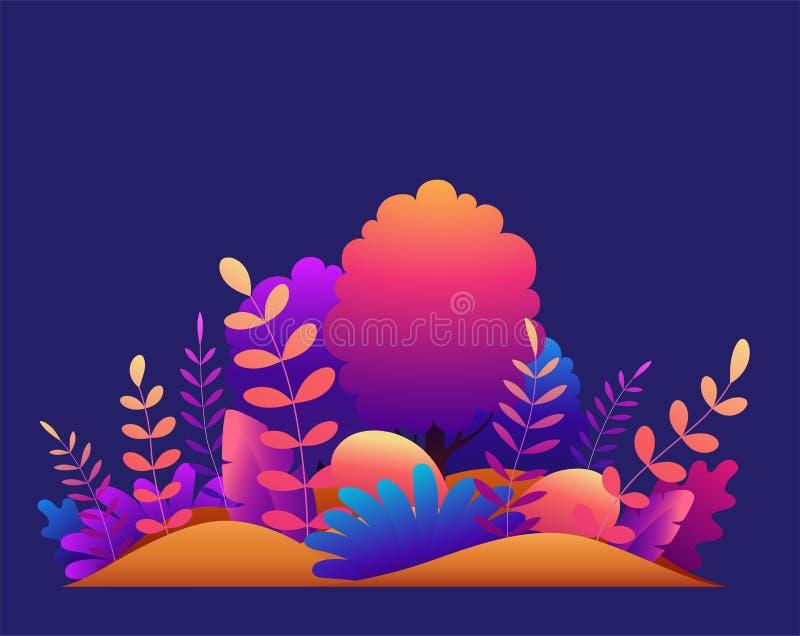 Μαγικό δάσος με τα δέντρα, τις τροπικές και εξωτικές εγκαταστάσεις στα φωτεινά χρώματα κλίσης Σύγχρονη διανυσματική απεικόνιση έν διανυσματική απεικόνιση