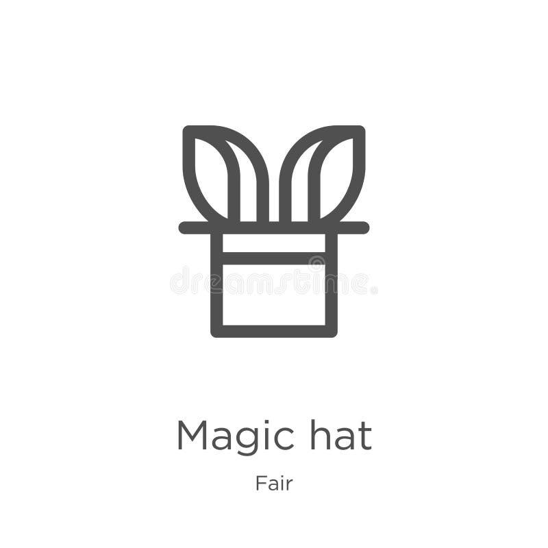 μαγικό διάνυσμα εικονιδίων καπέλων από τη δίκαιη συλλογή Λεπτή διανυσματική απεικόνιση εικονιδίων περιλήψεων καπέλων γραμμών μαγι απεικόνιση αποθεμάτων