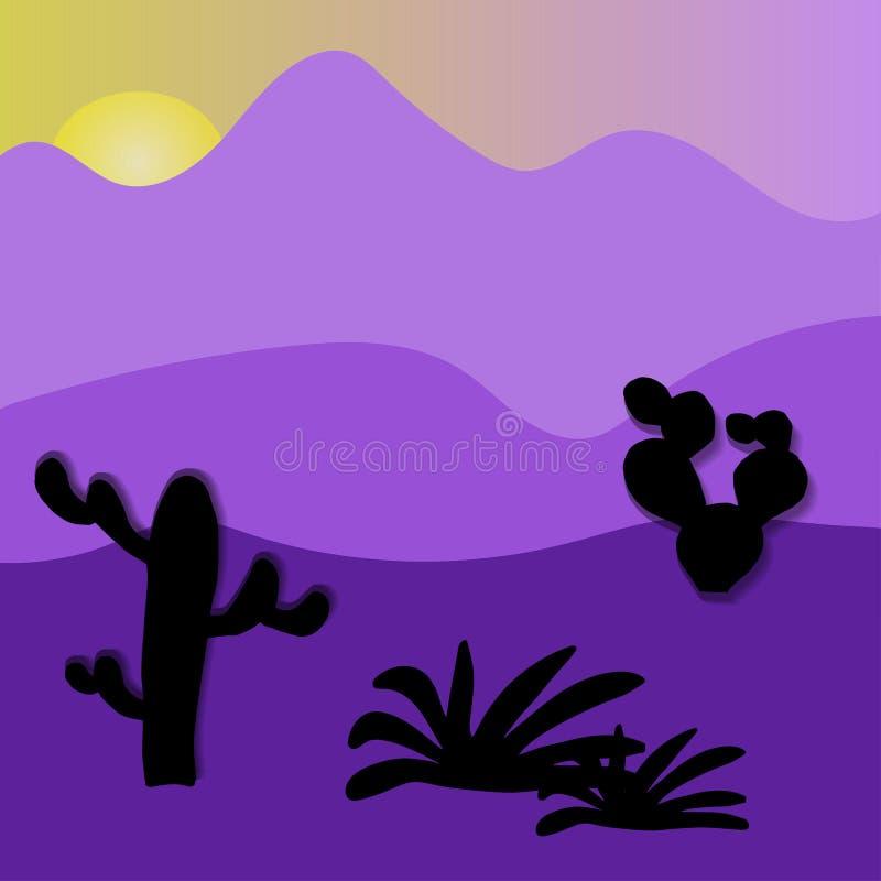 Μαγικό ηλιοβασίλεμα ερήμων Cactuse και βουνά στο τοπίο ερήμων απεικόνιση αποθεμάτων