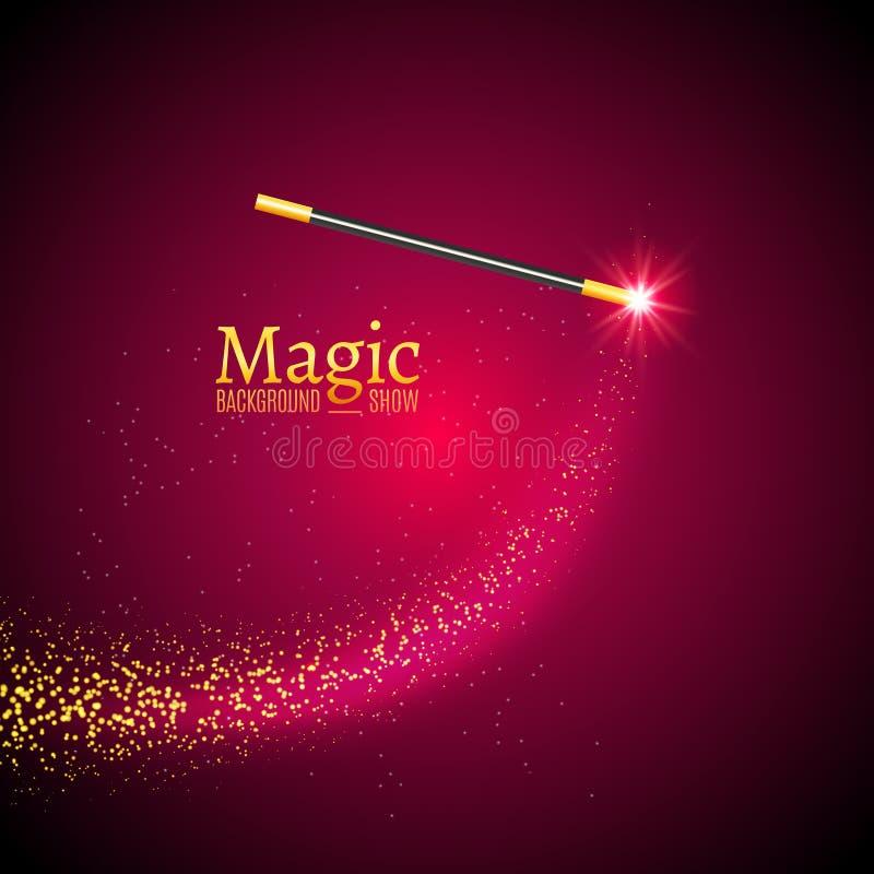 Μαγικό διανυσματικό υπόβαθρο ράβδων Ράβδος μάγων θαύματος με τα φω'τα σπινθηρίσματος απεικόνιση αποθεμάτων