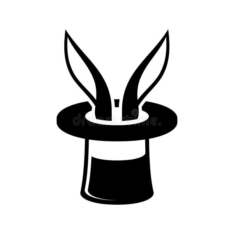 Μαγικό κουνέλι τεχνάσματος στο εικονίδιο καπέλων μάγων διάνυσμα διανυσματική απεικόνιση