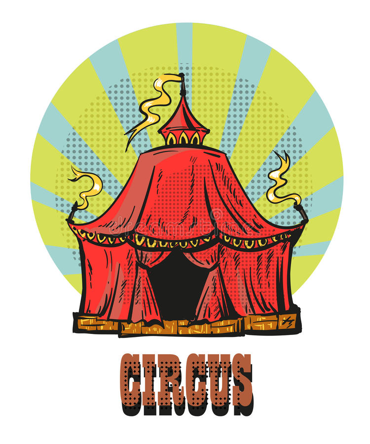 μαγικό κόκκινο πλαισίων τσίρκων Συρμένη χέρι κωμική απεικόνιση ύφους απεικόνιση αποθεμάτων