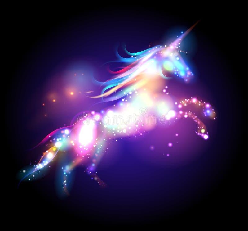 Μαγικό λογότυπο μονοκέρων αστεριών διανυσματική απεικόνιση