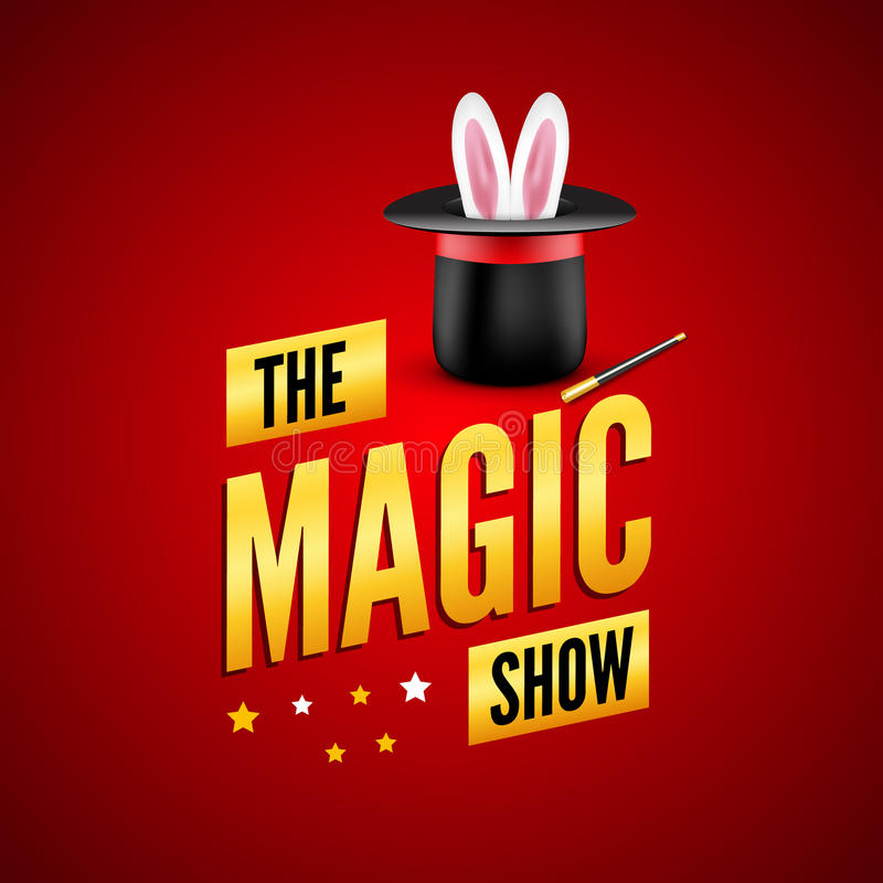 Μαγικό πρότυπο σχεδίου αφισών Έννοια λογότυπων μάγων με το καπέλο, το κουνέλι και τη ράβδο απεικόνιση αποθεμάτων