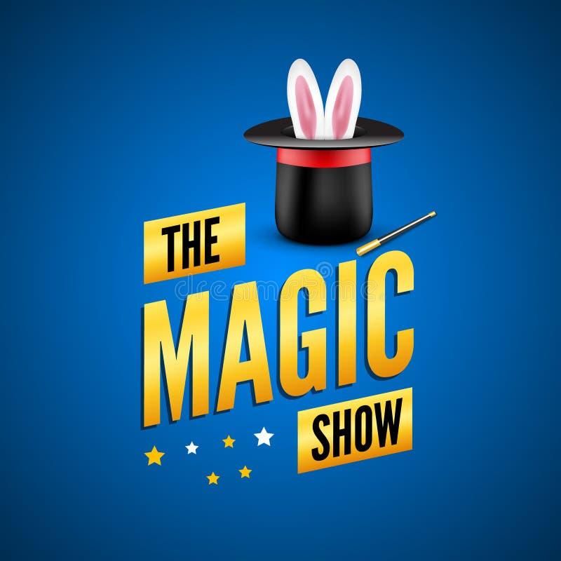 Μαγικό πρότυπο σχεδίου αφισών Έννοια λογότυπων μάγων με το καπέλο, το κουνέλι και τη ράβδο διανυσματική απεικόνιση