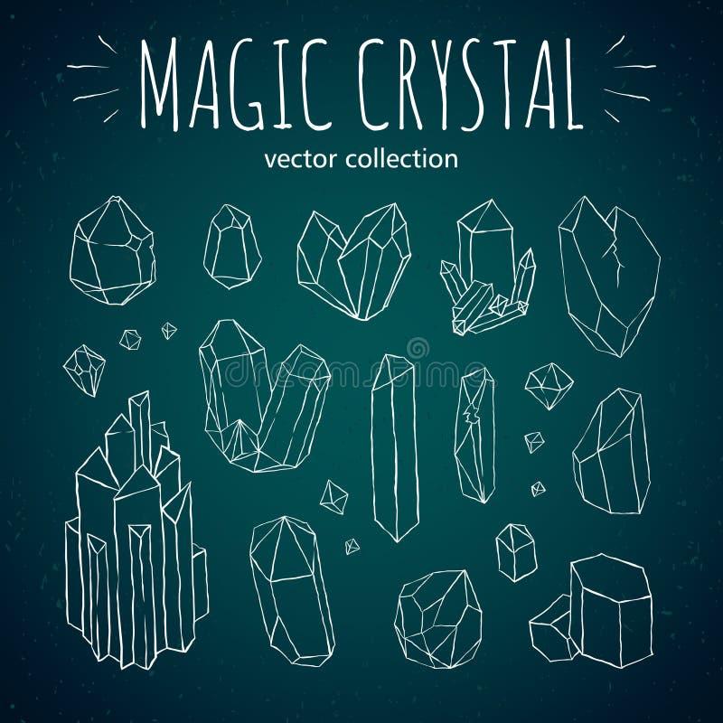 Μαγικό συρμένο χέρι διανυσματικό σύνολο ύφους κρυστάλλου hipster διανυσματική απεικόνιση