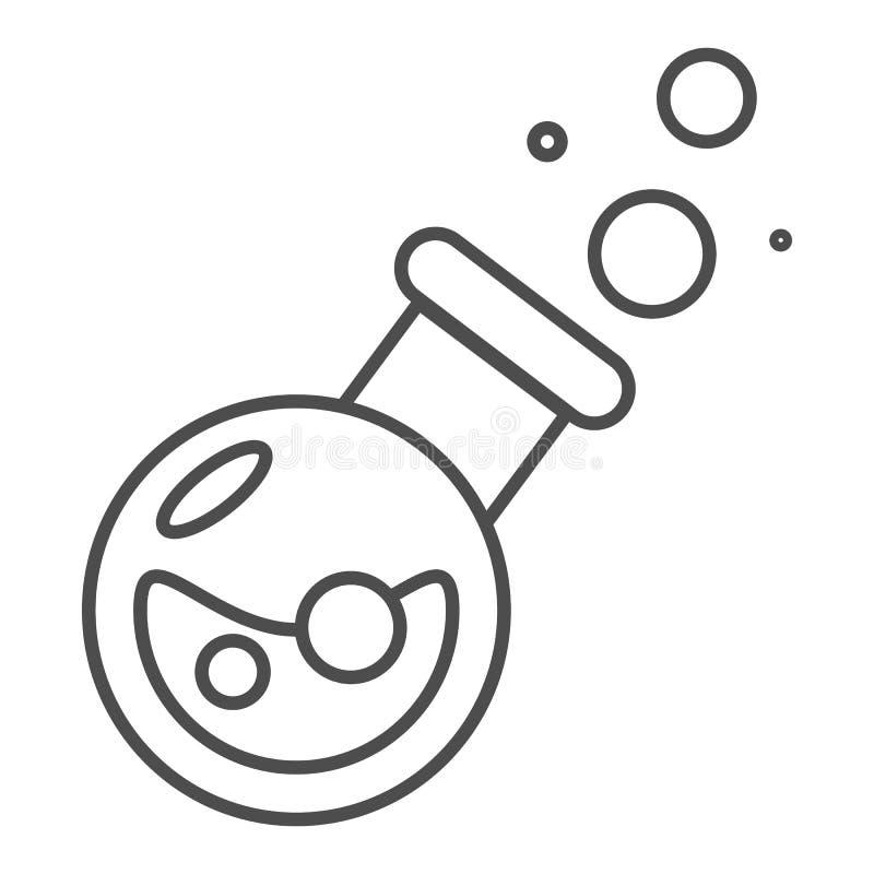 Μαγικό φίλτρων εικονίδιο γραμμών μπουκαλιών λεπτό Ποτό τη διανυσματική απεικόνιση φυσαλίδων που απομονώνεται με στο λευκό Ελιξίρι διανυσματική απεικόνιση