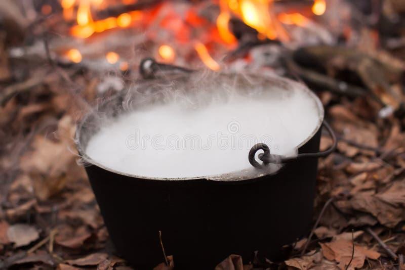 Μαγικό cauldon αποκριών μαγισσών στοκ φωτογραφίες