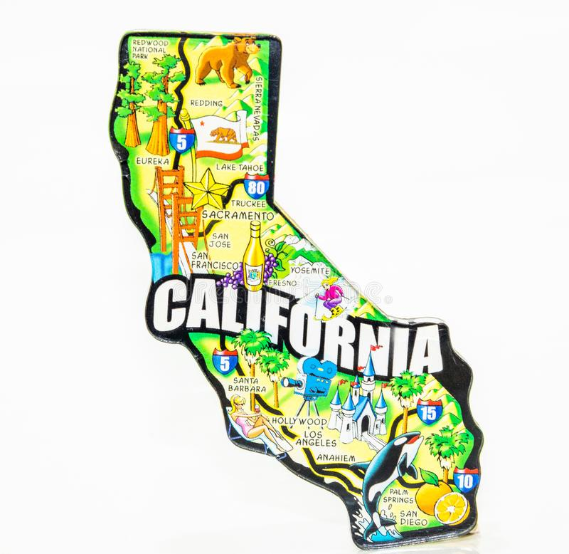 Μαγνήτης ψυγείου που δείχνει ένα χάρτη της Καλιφόρνια στοκ φωτογραφία