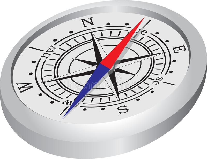 Μαγνητική βελόνα της πυξίδας διανυσματική απεικόνιση