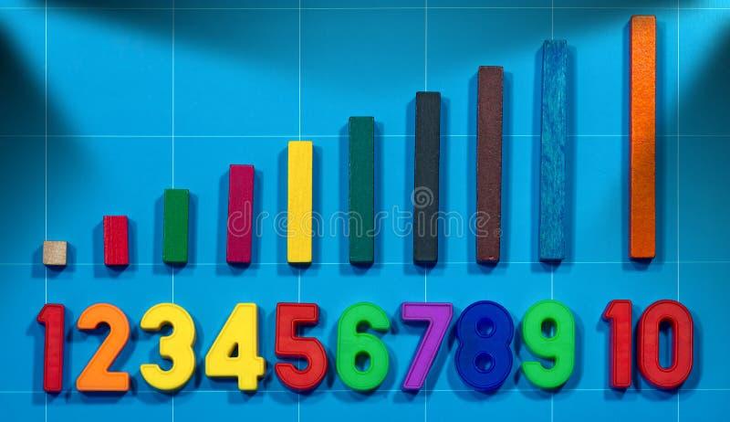 Μαγνητικοί αριθμοί και ξύλινα ζωηρόχρωμα κομμάτια στοκ εικόνα