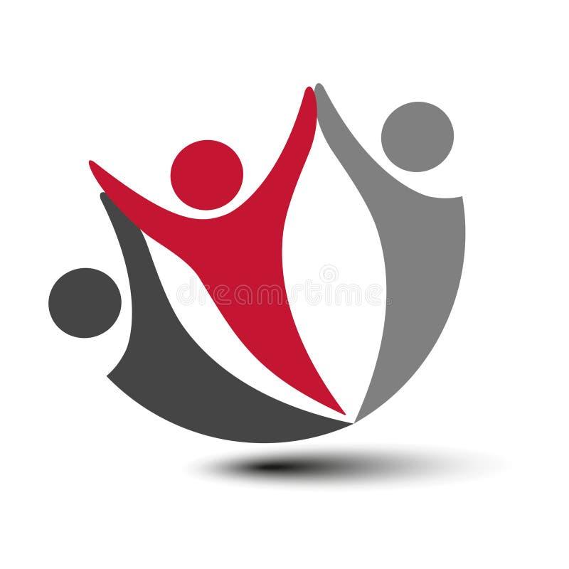 Μαζί ενωμένο εικονίδιο ανθρώπων Κόκκινο, γκρίζο και σκοτεινό γκρίζο κοινοτικό σύμβολο Ανθρώπινο σημάδι δύο συνεργατών Silhouttes  ελεύθερη απεικόνιση δικαιώματος