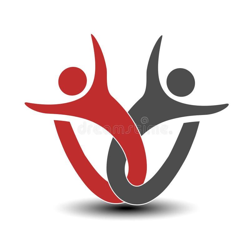 Μαζί ενωμένο εικονίδιο ανθρώπων Κόκκινο και γκρίζο κοινοτικό σύμβολο Ανθρώπινο σημάδι δύο συνεργατών Silhouttes του σώματος με το διανυσματική απεικόνιση