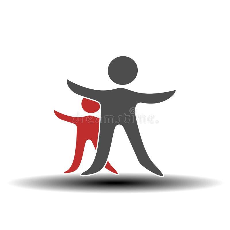 Μαζί ενωμένο εικονίδιο ανθρώπων Κόκκινο και γκρίζο κοινοτικό σύμβολο Ανθρώπινο σημάδι δύο συνεργατών Silhouttes του σώματος με το απεικόνιση αποθεμάτων