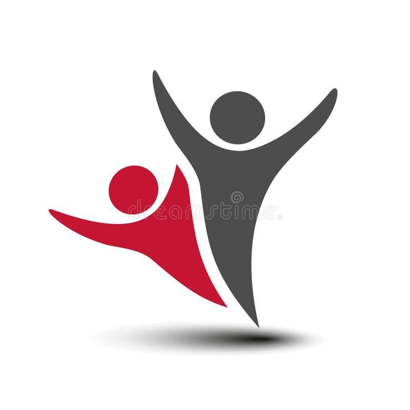 Μαζί ενωμένο εικονίδιο ανθρώπων Κόκκινο και γκρίζο κοινοτικό σύμβολο Ανθρώπινο σημάδι δύο συνεργατών Silhouttes του σώματος με το ελεύθερη απεικόνιση δικαιώματος