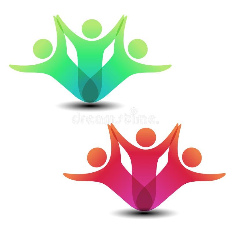 Μαζί ενωμένο εικονίδιο ανθρώπων Κόκκινο και πράσινο κοινοτικό σύμβολο Ανθρώπινο σημάδι δύο συνεργατών Silhouttes του σώματος με s απεικόνιση αποθεμάτων
