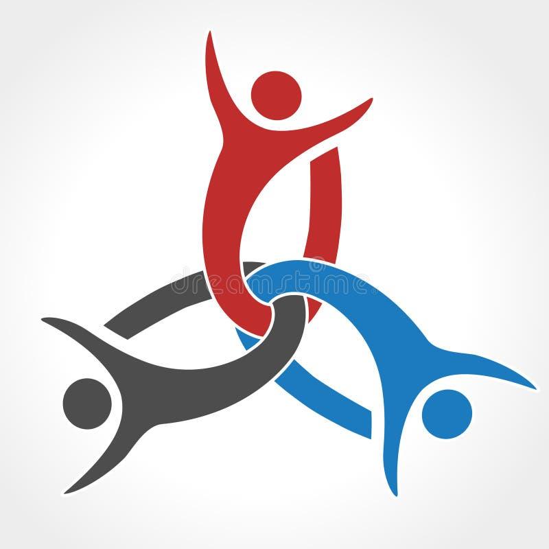 Μαζί ενωμένο εικονίδιο ανθρώπων Κόκκινο, μπλε και γκρίζο κοινοτικό σύμβολο Ανθρώπινο σημάδι δύο συνεργατών Silhouttes του σώματος απεικόνιση αποθεμάτων