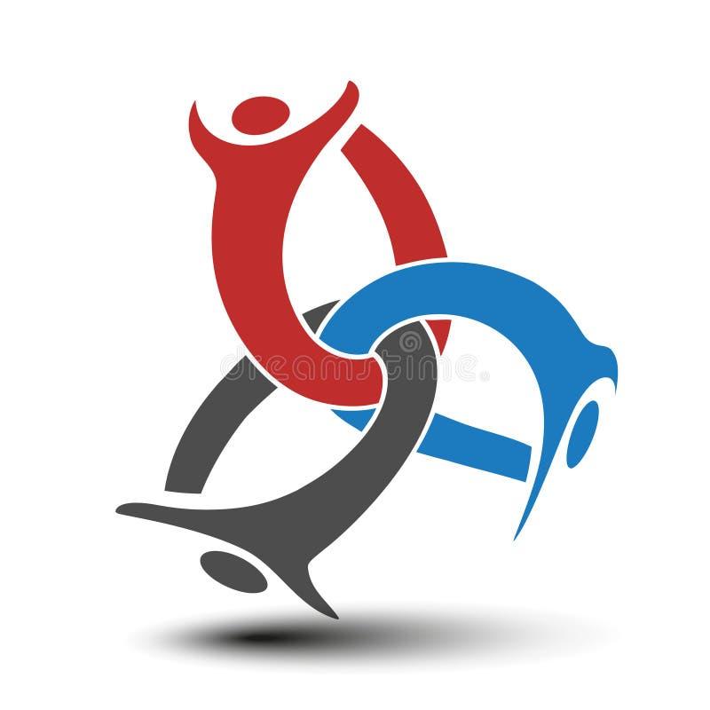 Μαζί ενωμένο εικονίδιο ανθρώπων Κόκκινο, μπλε και γκρίζο κοινοτικό σύμβολο Ανθρώπινο σημάδι τριών συνεργατών Το Silhouttes του σώ διανυσματική απεικόνιση