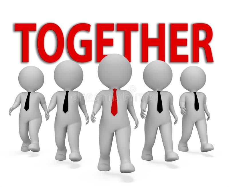 Μαζί οι επιχειρηματίες αντιπροσωπεύουν την εργασία ομάδας και την τρισδιάστατη απόδοση ομάδας απεικόνιση αποθεμάτων