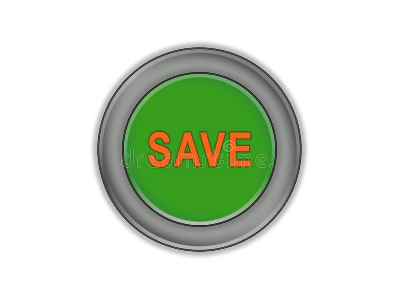 Μαζικό πράσινο κουμπί που λέει το SAVE, άσπρο υπόβαθρο διανυσματική απεικόνιση