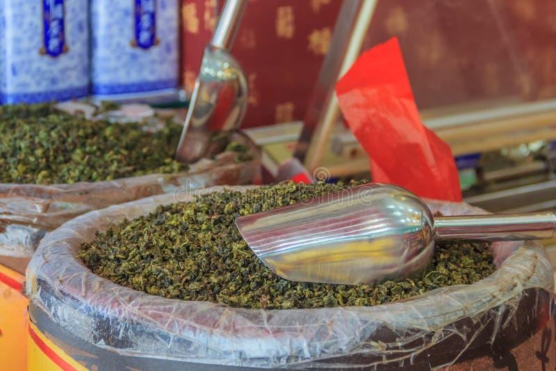 Μαζικό τσάι για την πώληση στην αγορά στην Κίνα στοκ εικόνα με δικαίωμα ελεύθερης χρήσης