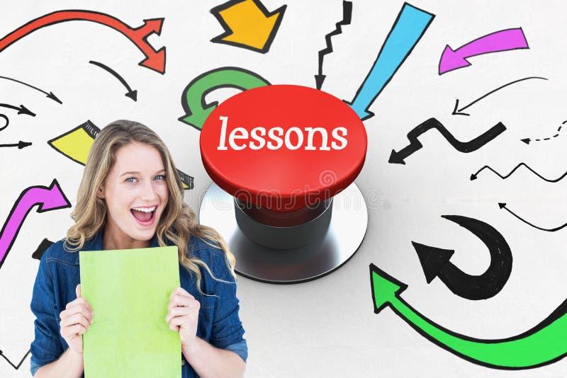 Μαθήματα ενάντια στο ψηφιακά παραγμένο κόκκινο κουμπί ώθησης απεικόνιση αποθεμάτων
