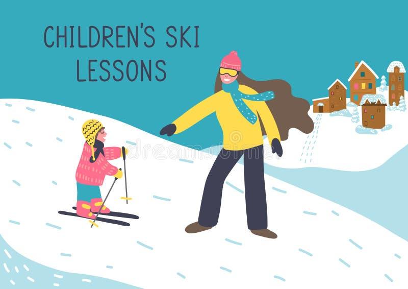 Μαθήματα σκι παιδιών Ο εκπαιδευτικός μητέρων ή γυναικών διδάσκει το παιδί για να κάνει σκι απεικόνιση αποθεμάτων
