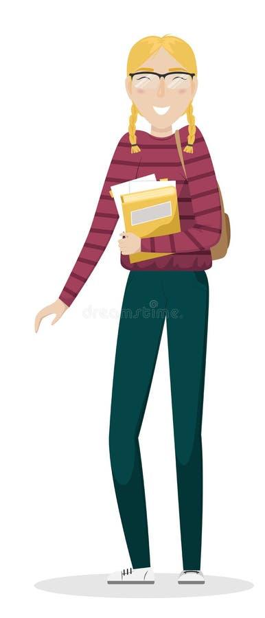Μαθήτρια με τις πλεξίδες και τα γυαλιά που κρατά τα εγχειρίδια στο χέρι της διανυσματική απεικόνιση