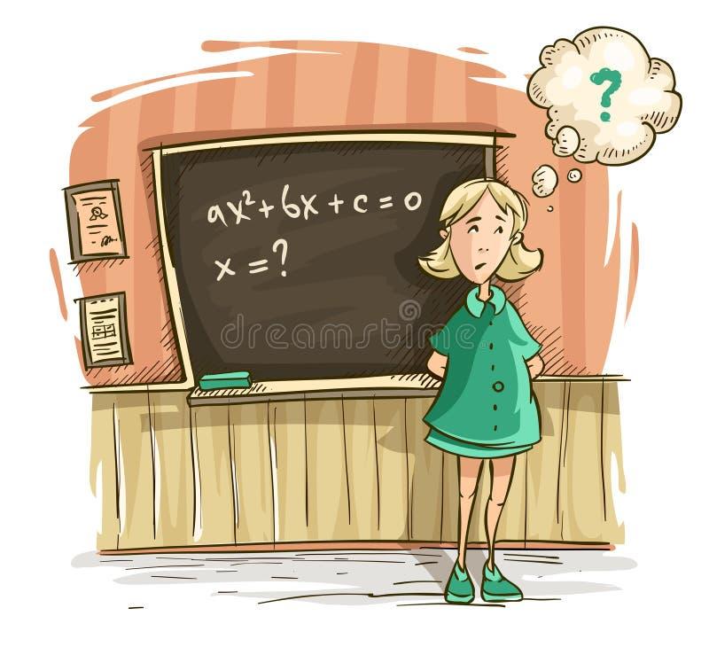Μαθήτρια στο μάθημα στο σχολικό κορίτσι διανυσματική απεικόνιση