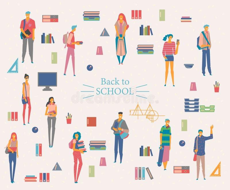 Μαθήτριες και μαθητές με τα βιβλία, τα σακίδια πλάτης και τις σχολικές τσάντες Πίσω στη σχολική διανυσματική αφίσα στο επίπεδο ύφ απεικόνιση αποθεμάτων