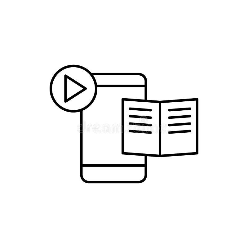 Μαθαίνοντας, κινητός, εικονίδιο παιχνιδιού Στοιχείο του εικονιδίου γραμμών εκπαίδευσης διανυσματική απεικόνιση