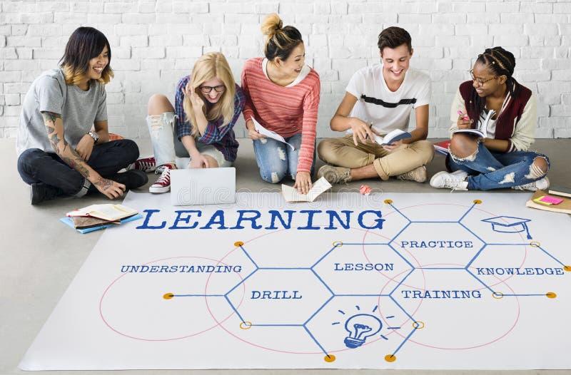 Μαθαίνοντας Hexagon γραφικό εικονίδιο διαγραμμάτων σχεδίων στοκ φωτογραφίες