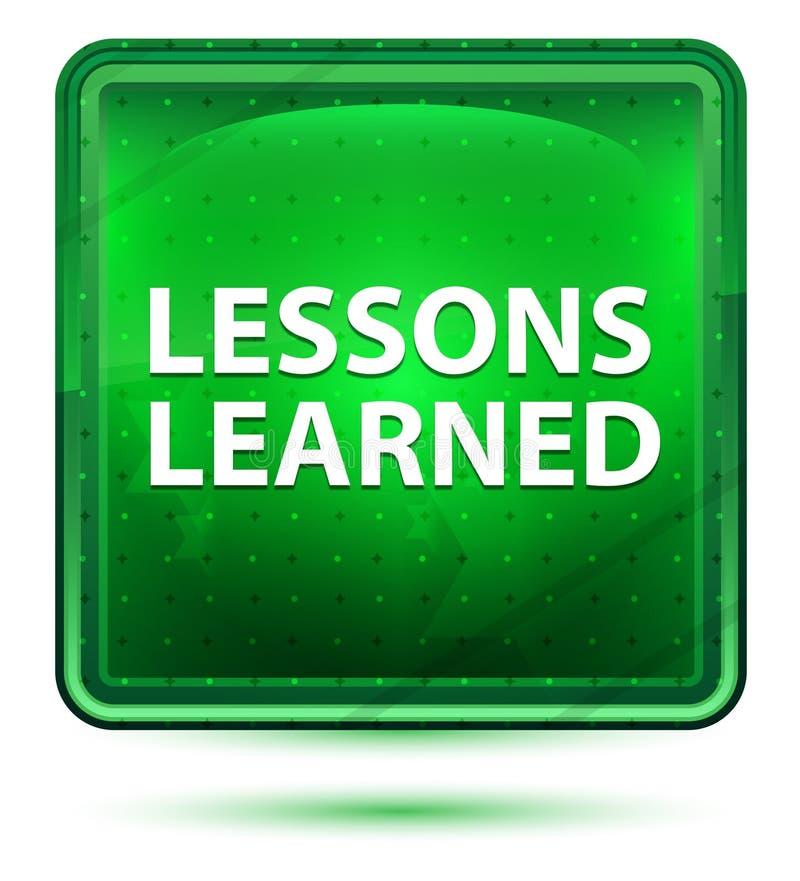 Μαθημένο μαθήματα ανοικτό πράσινο τετραγωνικό κουμπί νέου απεικόνιση αποθεμάτων