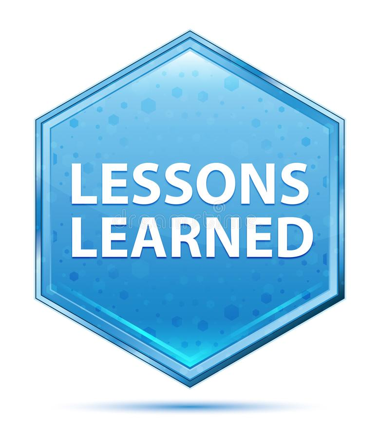 Μαθημένο μαθήματα μπλε hexagon κουμπί κρυστάλλου ελεύθερη απεικόνιση δικαιώματος