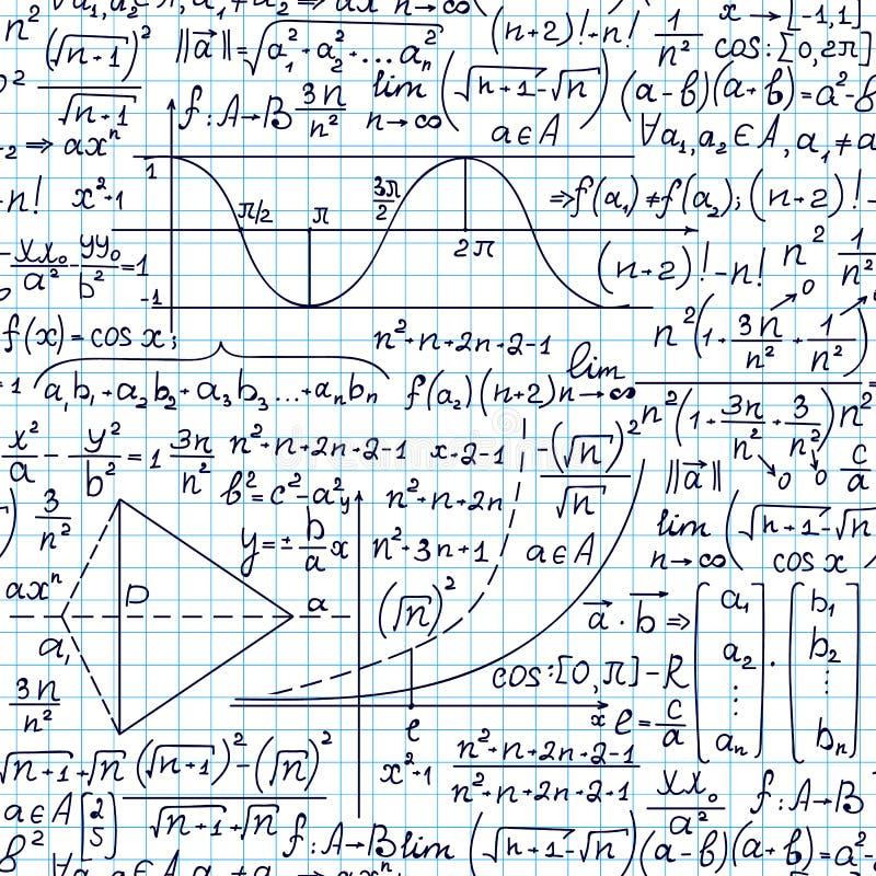 Μαθηματικό διανυσματικό άνευ ραφής σχέδιο με τους αριθμούς, τους υπολογισμούς και τους τύπους math ελεύθερη απεικόνιση δικαιώματος