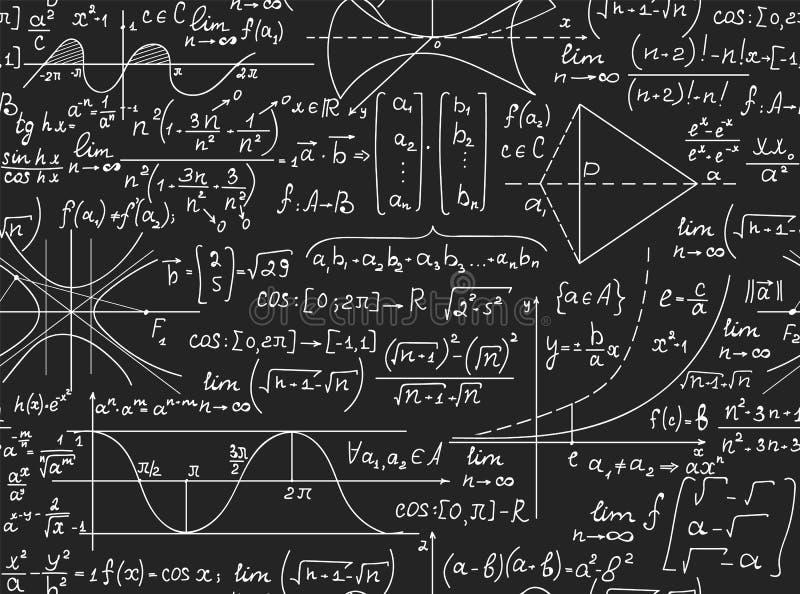 Μαθηματικό διανυσματικό άνευ ραφής σχέδιο με τους χειρόγραφους τύπους math, υπολογισμοί, εξισώσεις διανυσματική απεικόνιση
