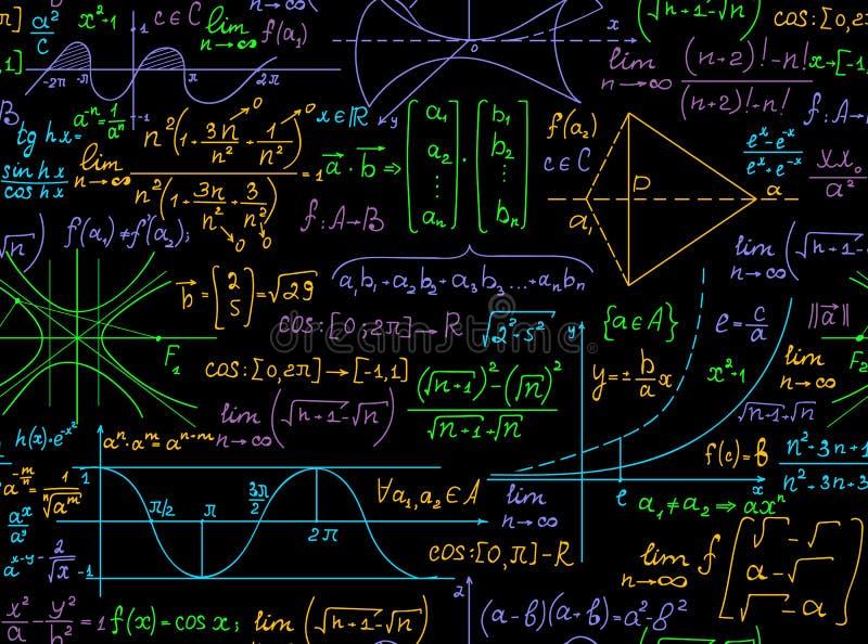 Μαθηματικό διανυσματικό άνευ ραφής σχέδιο με τους χειρόγραφους πολύχρωμους τύπους math, υπολογισμοί, εξισώσεις ελεύθερη απεικόνιση δικαιώματος