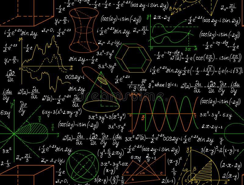 Μαθηματικό διανυσματικό άνευ ραφής σχέδιο με τους αριθμούς, τύποι και άλλοι υπολογισμοί, χειρόγραφοι σε χαρτί copybook διανυσματική απεικόνιση