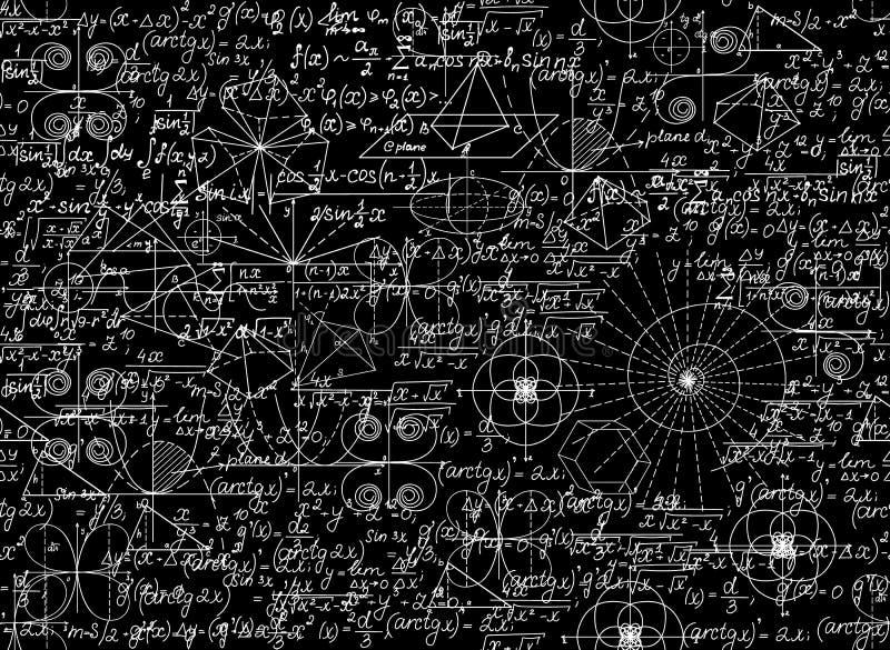 Μαθηματικό διανυσματικό άνευ ραφής σχέδιο με τους μαθηματικούς αριθμούς και τις εξισώσεις διανυσματική απεικόνιση