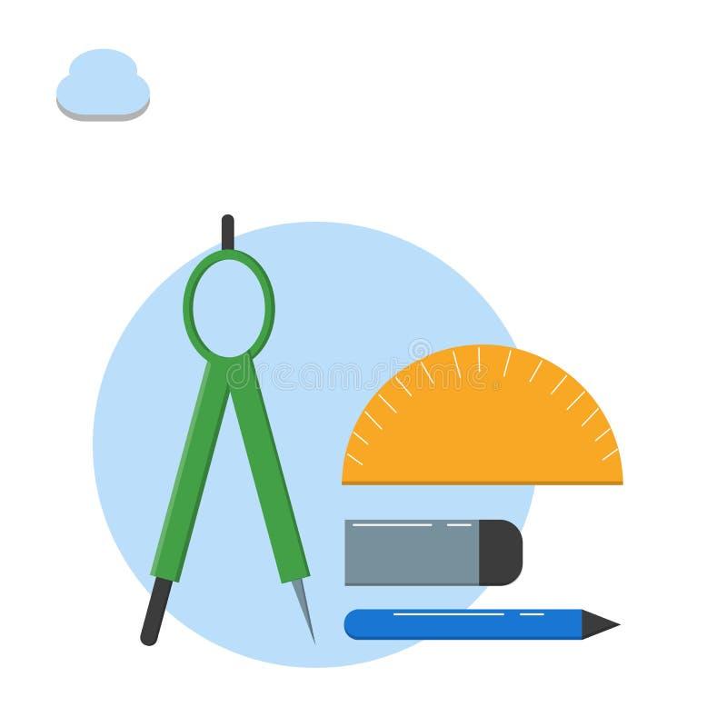 Μαθηματικό μοιρογνωμόνιο εξοπλισμού, πυξίδα, μολύβι, απεικόνιση γομών - διάνυσμα διανυσματική απεικόνιση